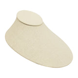 Beige Linen Oval Lay-Down Necklace Display 4