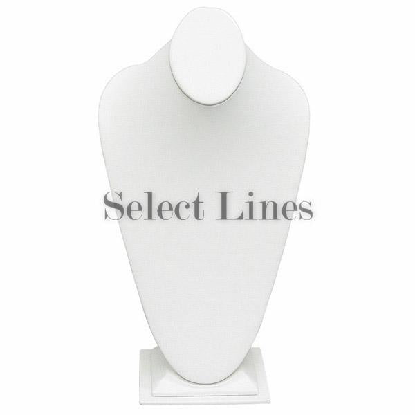 "White Faux Leather Neckform Display 14-1/2"" H"