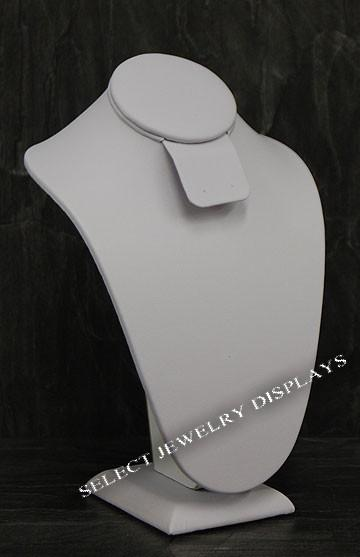 "White Faux Leather Neckform Display 7.5"" H"