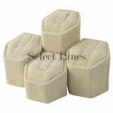 "Beige Faux Suede 4-pc Set Ring Stand Ring Display 2-1/2"" H."