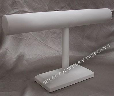 "White Faux Leather Long Single T-Bar Display 6-3/4"" H"
