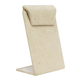 "Beige Faux Suede Mini Earring Display Stand 3-3/8""H."