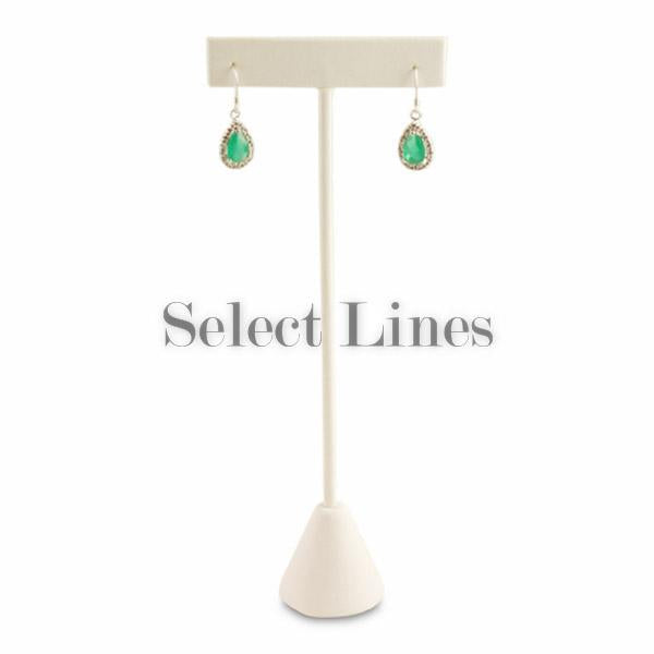 "Tall White Faux Leather T-Shape Earring Stand Display 6-3/4""H."
