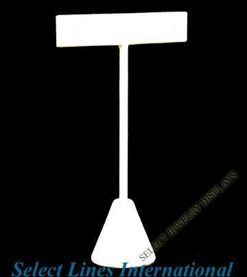 "White Faux Leather T-Shape Earring Stand Display 4-1/2""H."