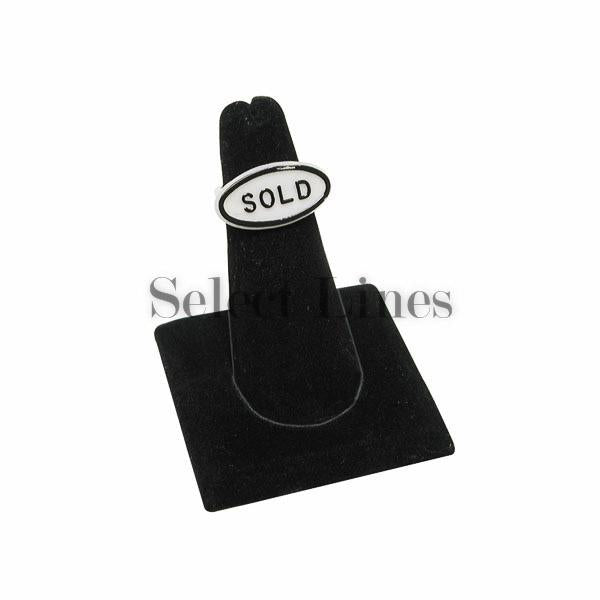 "Black Velvet Long Finger Square Base Ring Display 2-3/8"" H."