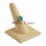 "Beige Faux Suede Long Finger Square Base Ring Display 2-3/8"" H."