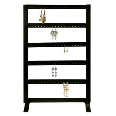 "Black Metal 50 Pair Earring Rack Display 17-5/8"" H"