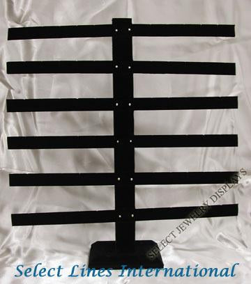 "Black Velvet 36 Pair Earring Rack Display 15-1/8"" H"