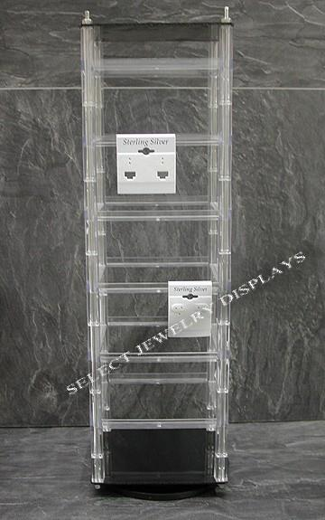 "Rotating Hanging 48pc Earring Card Display 17"" H"