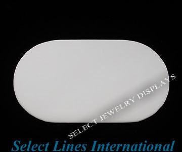 "White Faux Leather Oval Pad Display  Tray Insert 7"" H"