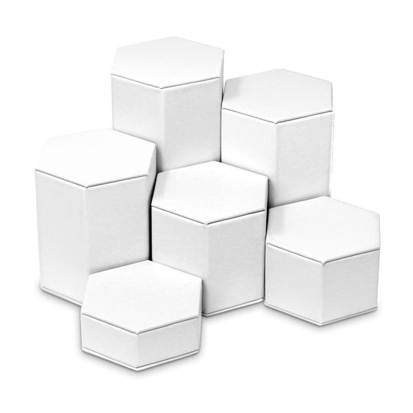 "White Faux Leather 6-Pc Hexagon Riser Block Set Display 6-1/4"" H."