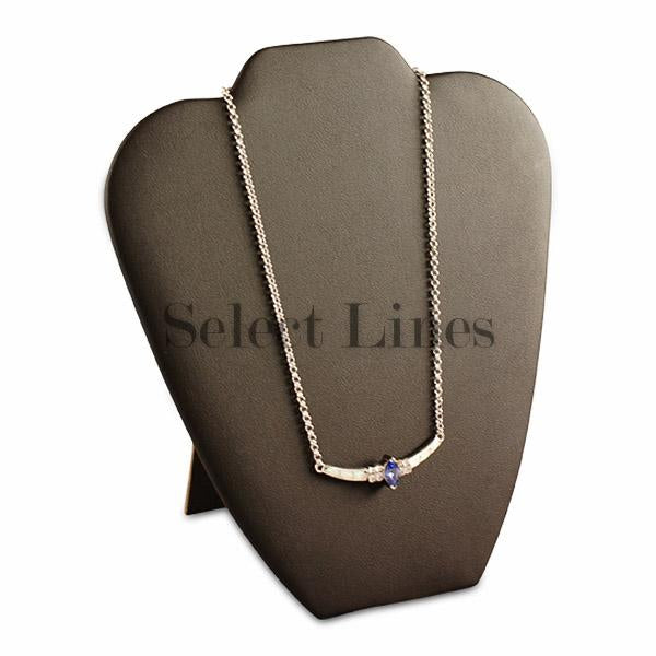 "Black Faux Leather Easel Necklace Display 8-5/8"" H"