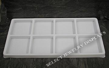 "White Flocked Tray Liner 8-Section Tray Insert 3-1/4"" H"
