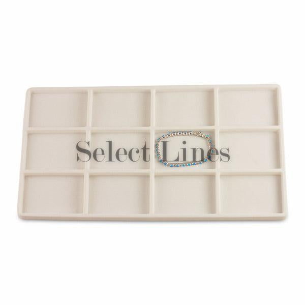 "White Flocked Tray Liner 12-Section Tray Insert 2-3/8"" H"