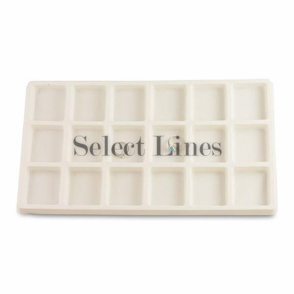 "White Flocked Tray Liner 18-Section Tray Insert 2-1/4"" H"