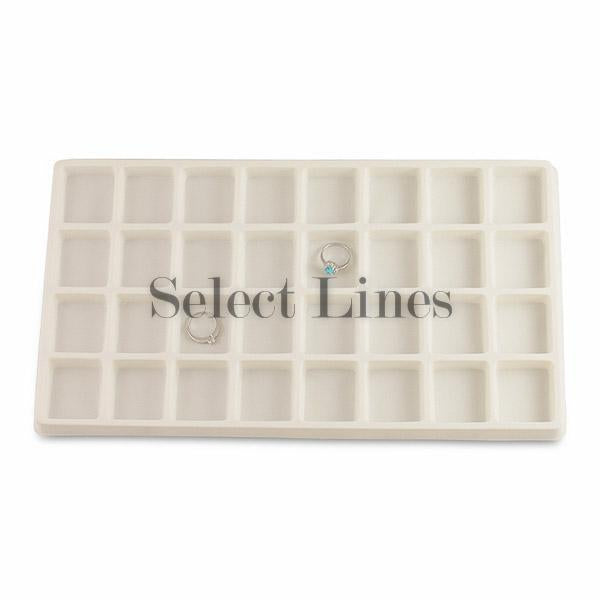"White Flocked Tray Liner 32-Section Tray Insert 1-3/4"" H"