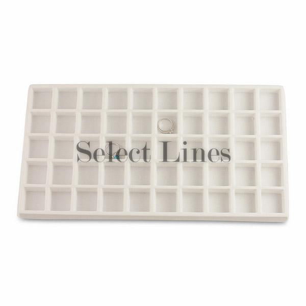 "White Flocked Tray Liner 50-Section Tray Insert 1-1/4"" H"