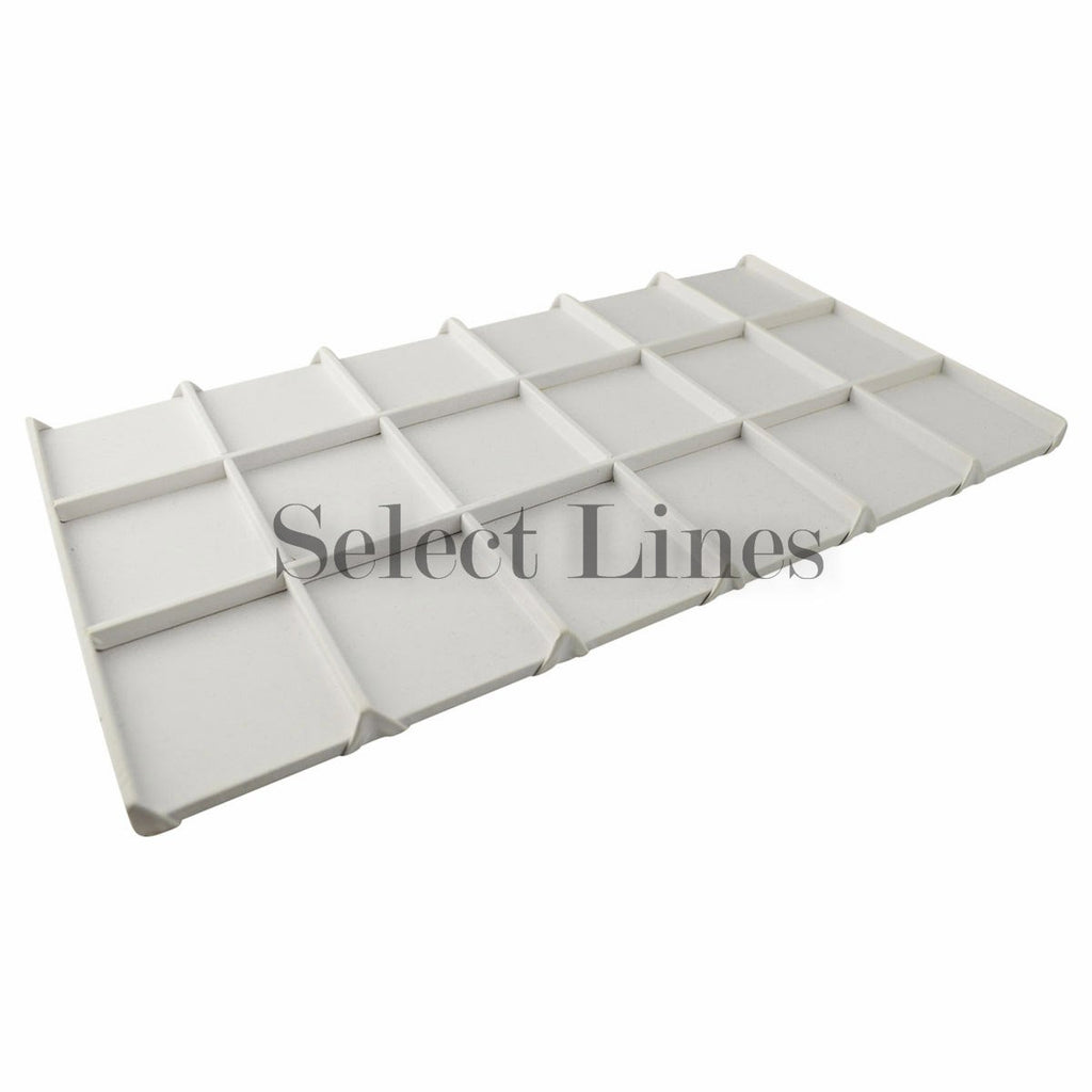 "White Faux Leather Wooden 18-Grid Tray Liner Tray Insert 1/2"" H"