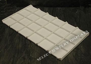 "White Faux Leather Wooden 24-Grid Tray Liner Tray Insert 1/2"" H"
