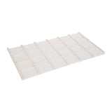 "White Faux Leather Wooden Eighteen Grid Tray Liner Tray Insert 1/2"" H"