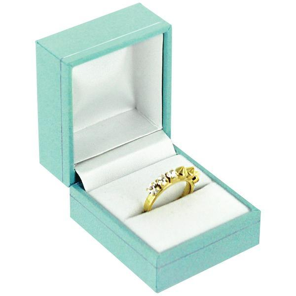 "Teal Blue Faux Leather ring Display Gift Box 1-1/2"" H"