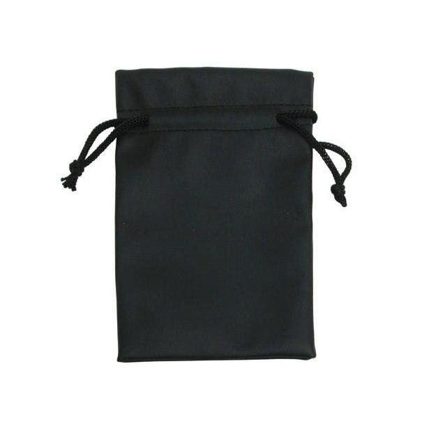 "12pc Pack Black Faux Leather DrawString Pouch 4-3/4"" H"