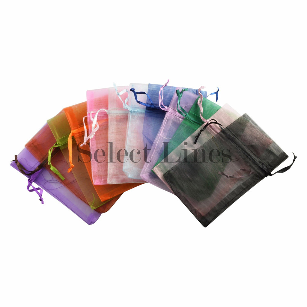 "12pc Pack Assorted Color Sheer DrawString Pouch 4"" H"
