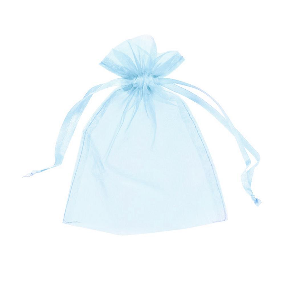 "12pc Pack Baby Blue Sheer DrawString Pouch 5"" H"