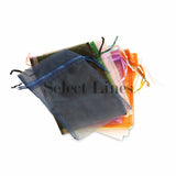 "12pc Pack Assorted Color Sheer DrawString Pouch 5"" H"