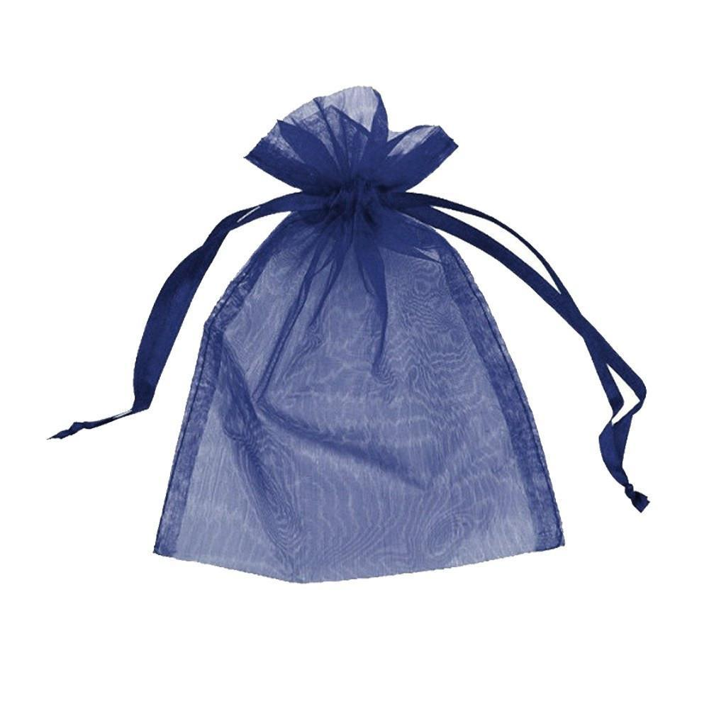 "12pc Pack Navy Blue Sheer DrawString Pouch 5"" H"