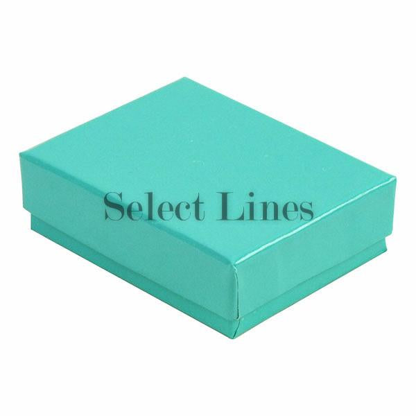 "100pcs Cotton Filled Glossy Teal Blue Gift Box 2.5""x1.5""x1"" H"