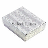 "100pcs Cotton Filled Silver Texture Gift Box 2.5""x1.5""x1"" H"