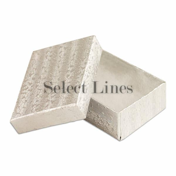 "100pcs Cotton Filled Silver Texture Gift Box 3""x2""x1"" H"