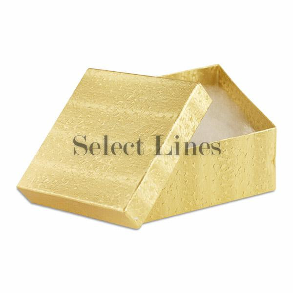 "100pcs Cotton Filled Gold Texture Gift Box 3.5""x3.5""x2"" H"