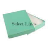 "100pcs Cotton Filled Glossy Teal Blue Gift Box 7""x5""x1"" H"
