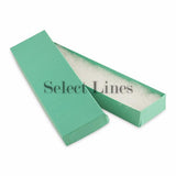 "100pcs Cotton Filled Glossy Teal Blue Gift Box 8""x2""x1"" H"