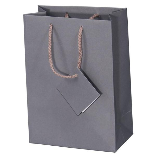"20pc Pack Matte Grey Paper Tote Gift Bag 4-1/2"" H"