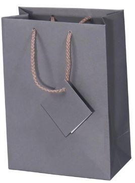 "20pc Pack Matte Grey Paper Tote Gift Bag 6-3/4"" H"