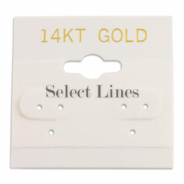"100pc Pack White ""14KT Gold"" Hanging Earring Cards 1-1/2""H."