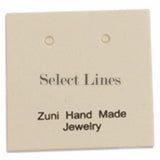 "100pc Pack Beige ""Zuni Hand Made Jewelry"" Earring Cards 1"" H."