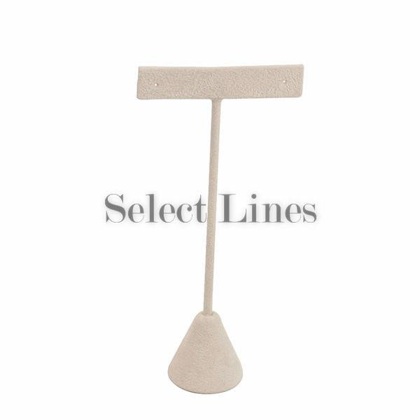 "Beige Faux Suede T-Shape Earring Stand Display 5-3/4""H."
