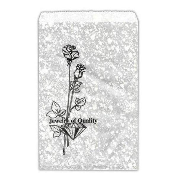 "100pc Pack Silvertone w/ Flower Paper Gift Bag 6"" H"