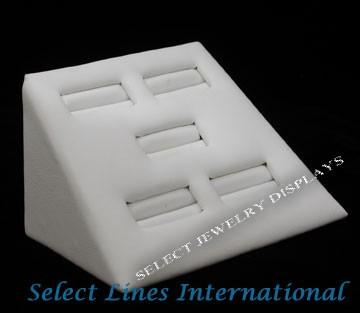 "White Faux Leather 5-Slot Mini Ring Display 2"" H."