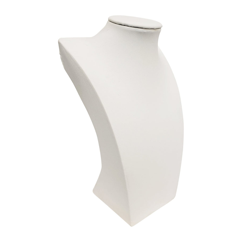 "White Faux Leather Neckform Display 10"" H"