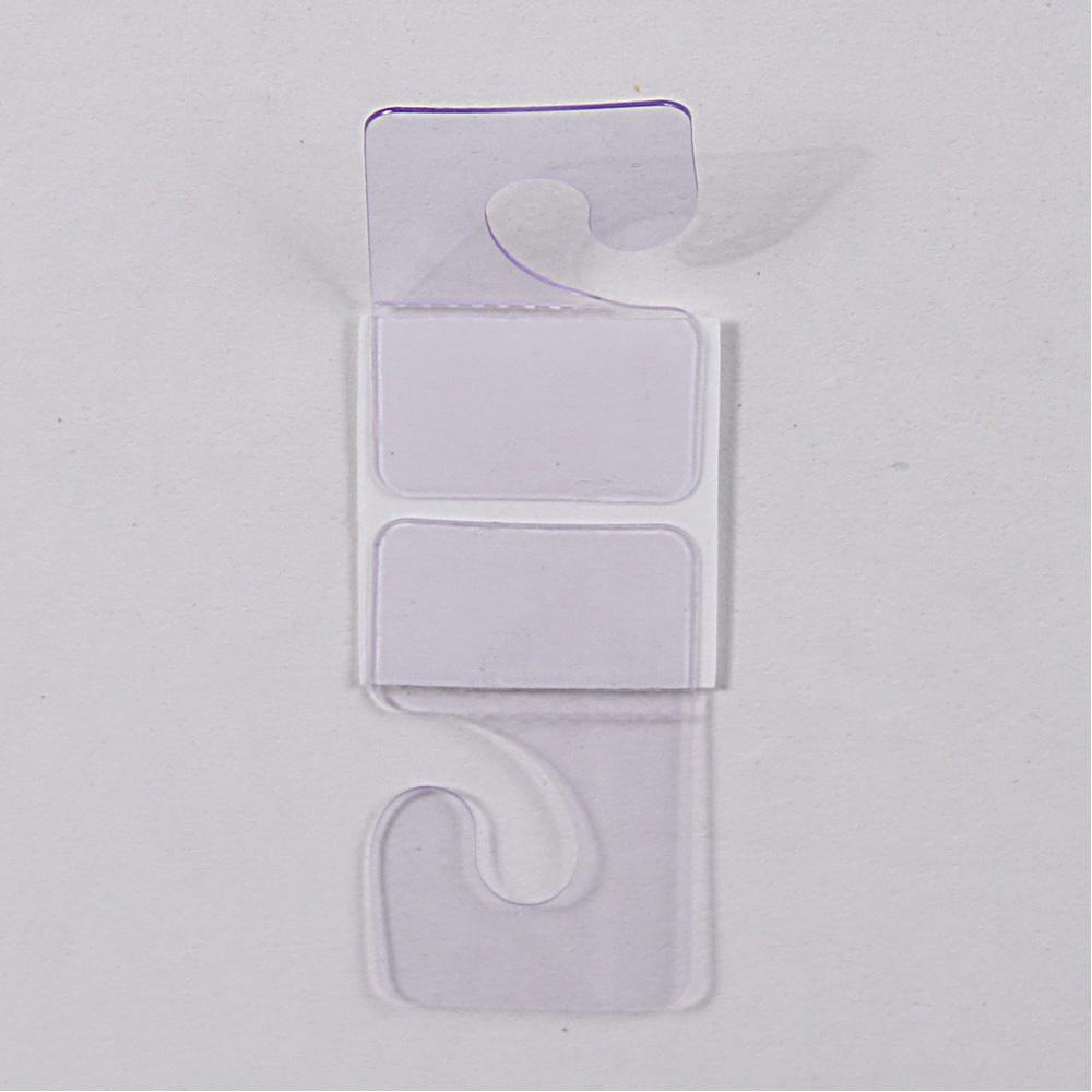 "200pc Pack Clear Plastic J-Hook Tab 200 Hang Tabs 1-3/4"" H"
