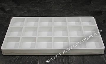 "White Heavy Duty Plastic Stackable 18-Section Tray Liner Tray Insert 3-5/8"" H"