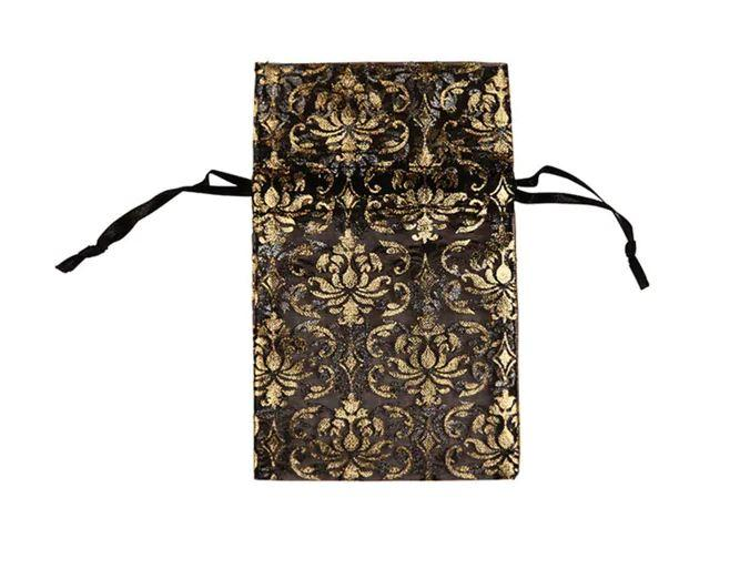 "12pc Pack Black w/Gold Damask DrawString Pouch 5"" H"