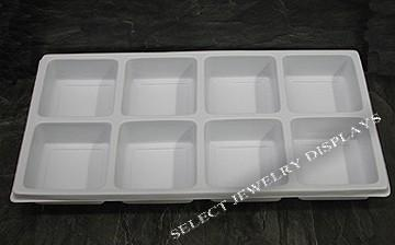 "White Durable Textured Plastic 8-Section Tray Liner Tray Insert 1-3/8"" H"