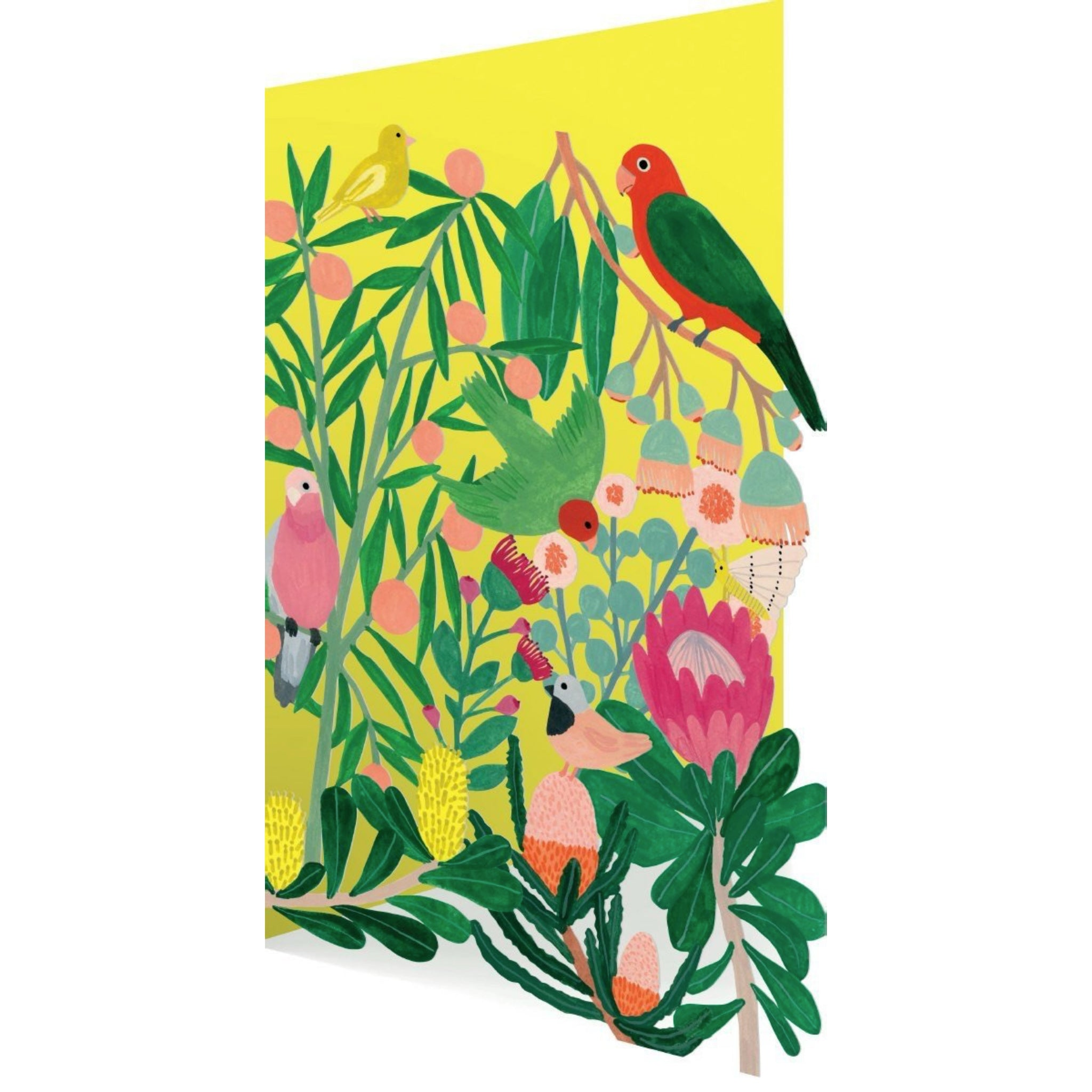 Greeting Card Laser-cut Flowers and Birds