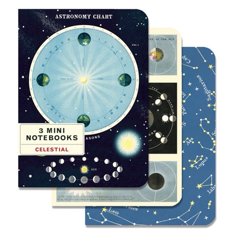 3 Mini Notebooks Celestial